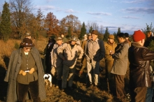 We love the proper field attire circa 1950. Felted hats, trial pins and feather, tweed, leather and (of course) tried and true field coats.